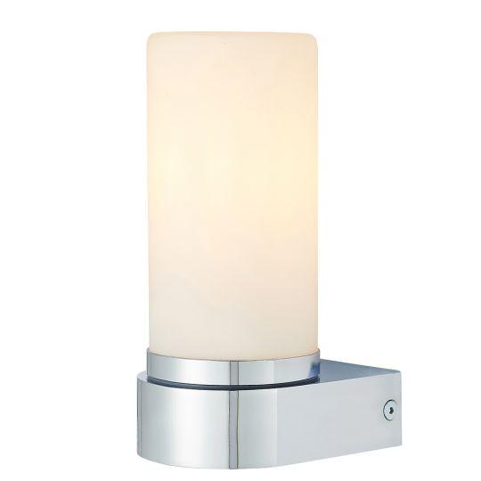 Endon Lighting Tal Chrome Plate & White Glass 1 Light Bathroom Wall Light 79921