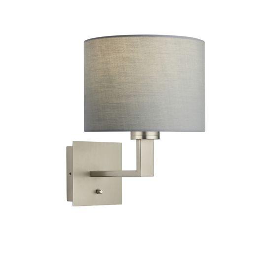 Endon Collection Norton Cylinder Matt Nickel Plate & Grey Fabric 1 Light Wall Light 79975