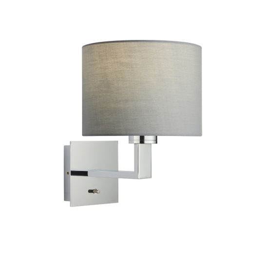 Endon Collection Norton Cylinder Chrome Plate & Grey Fabric 1 Light Wall Light 80297