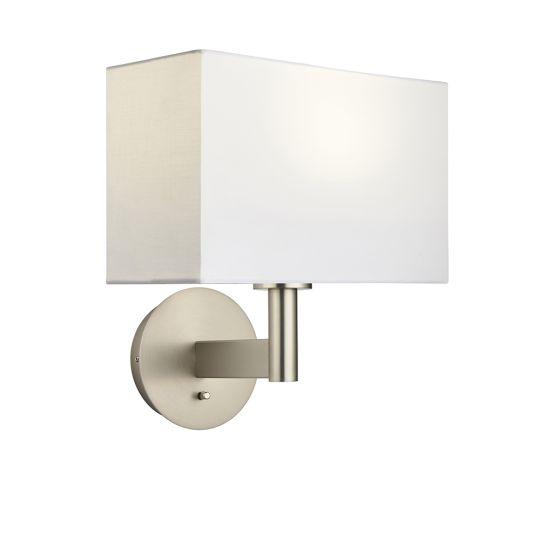 Endon Collection Owen Rectangular Matt Nickel Plate & Vintage White Fabric 1 Light Wall Light 80299