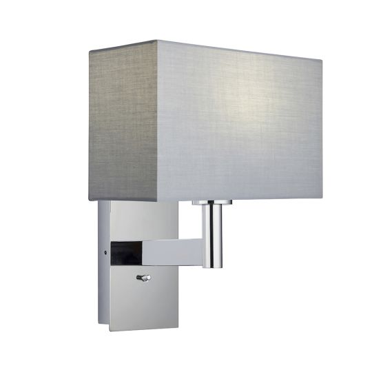 Endon Collection Owen Rectangular Chrome Plate & Grey Fabric 1 Light Wall Light 80308