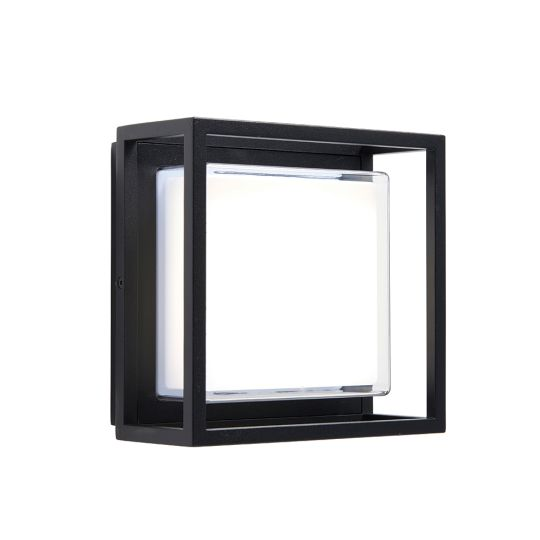Endon Collection Frame Textured Black & Clear Pc 1 Light Outdoor Wall Light 80546