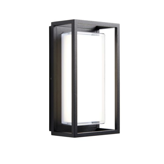Endon Collection Frame Textured Black & Clear Pc 1 Light Outdoor Wall Light 80547