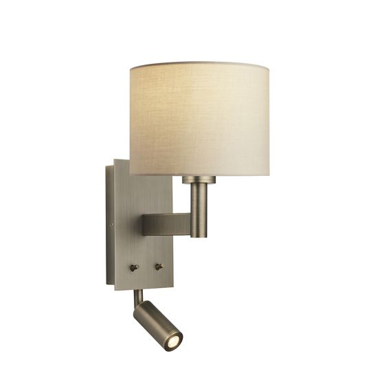 Endon Collection Owen Cylinder Antique Bronze Plate & Taupe Fabric 1 Light Wall Light 81729