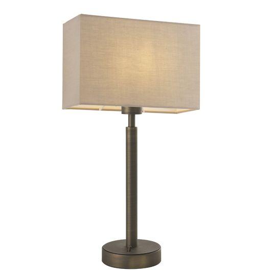 Endon Collection Owen Rectangular Antique Bronze Plate & Taupe Fabric 1 Light Table Light 81736