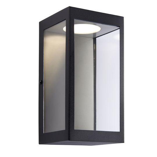 Endon Lighting Dean Matt Black & Clear Glass 1 Light Outdoor Wall Light 82013