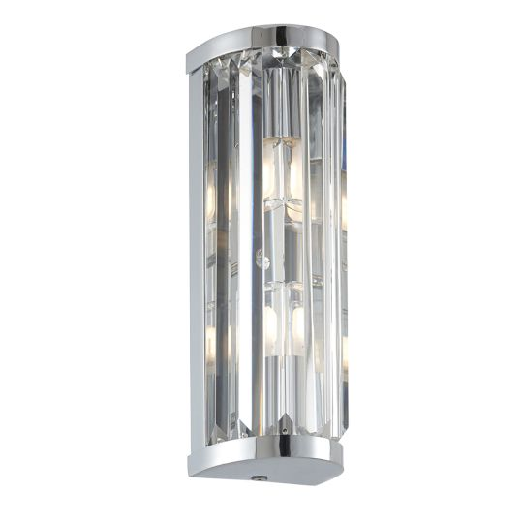 Endon Lighting Shimmer Chrome Plate & Clear Crystal 2 Light Bathroom Wall Light 91820