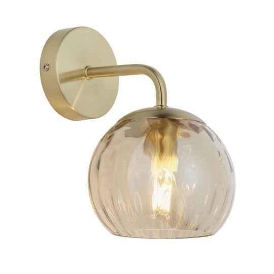 Endon Lighting Dimple Satin Brass Plate & Champagne Lustre Glass 1 Light Wall Light 91970