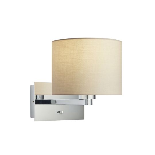 Endon Collection Issac Cylinder Chrome Plate & Taupe Fabric 1 Light Wall Light 92060