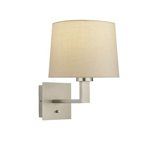Endon Collection Norton Taper Matt Nickel Plate & Taupe Fabric 1 Light Wall Light 92070