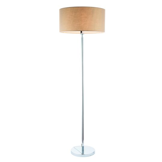 Endon Collection Owen Cylinder Chrome Plate & Taupe Fabric 1 Light Floor Light 92083