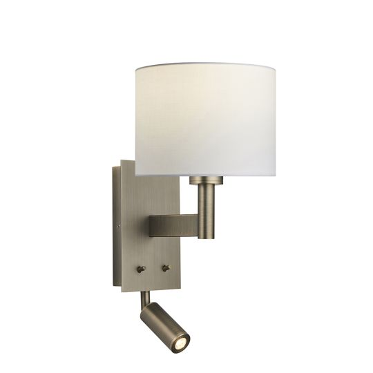 Endon Collection Owen Cylinder Antique Bronze Plate & Vintage White Fabric 1 Light Wall Light 92116