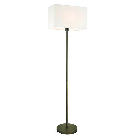Endon Collection Owen Rectangular Antique Bronze Plate & Vintage White Fabric 1 Light Floor Light 92123