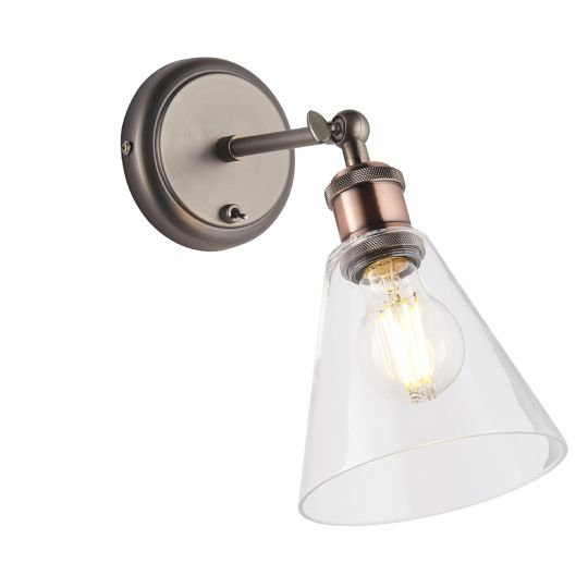 Endon Lighting Hal Aged Pewter & Aged Copper Plate 1 Light Wall Light 92874