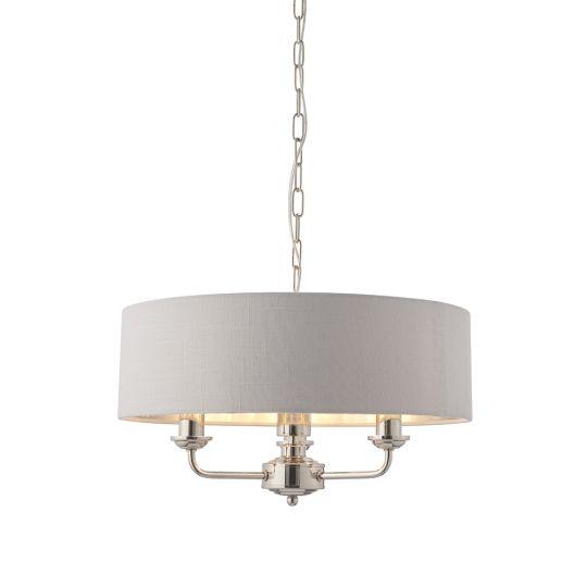 Endon Lighting Highclere Bright Nickel Plate & Silver Fabric 3 Light Pendant Light 94388