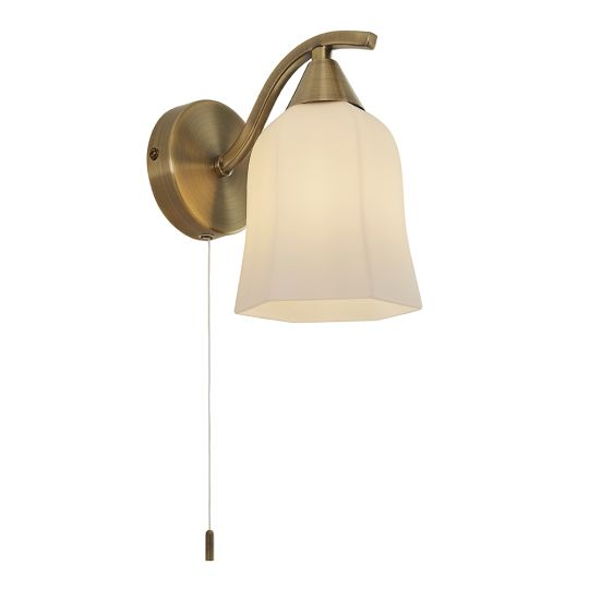 Endon Lighting - Alonso Wall lamp antique brass/white glass - 96971-WBAB