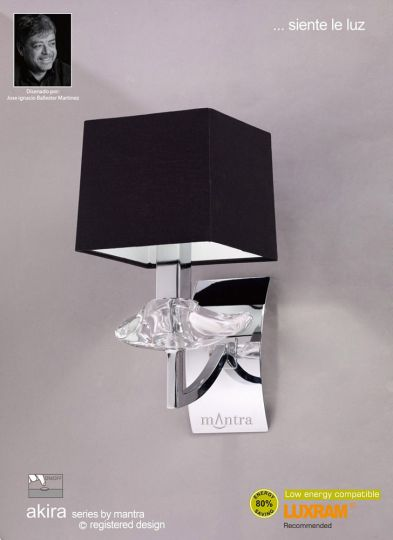 Mantra Lighting - AKIRA WALL 1 LIGHT POLISHED CHROME WITH BLACK SHADE SWITCHED - M0786/S