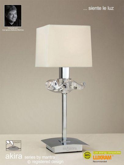 Mantra M0789/CS Akira Table Lamp 1 Light E14 Polished Chrome With Cream Shade