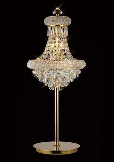 Diyas IL32103 Alexandra Table Lamp 5 Light French Gold/Crystal
