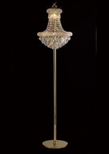Diyas IL32104 Alexandra Floor Lamp 8 Light French Gold/Crystal