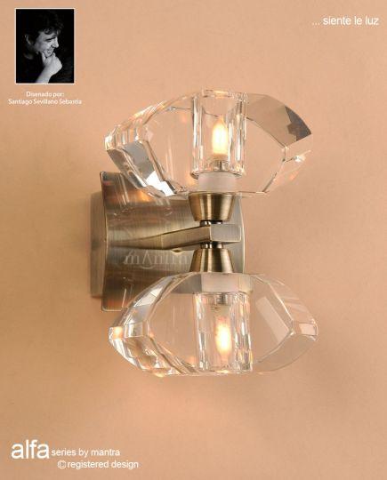 Mantra M0424AB Alfa Wall Lamp 2 Light G9 Antique Brass