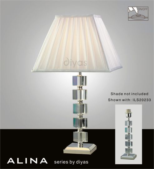 Diyas IL11021 Alina Crystal Table Lamp Without Shade 1 Light Silver Finish