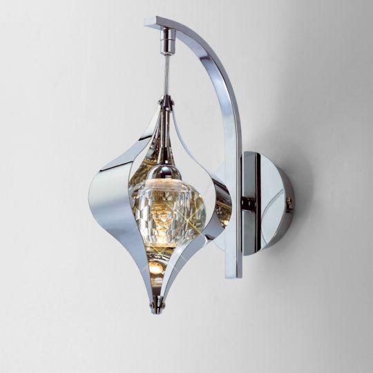 Diyas Lighting - Amano Wall Lamp 1 Light Switched Polished Chrome/Crystal - IL30581