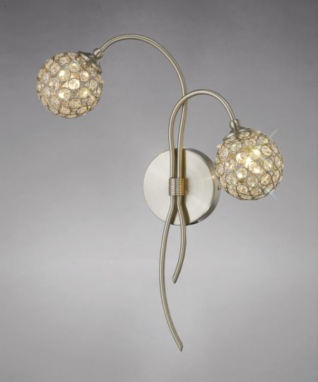 Diyas IL20680 Apollo Wall Lamp 2 Light Satin Nickel/Crystal