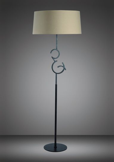 Mantra M5219 Argi Floor Lamp 4 Light E27 With Taupe Shade Brown Oxide