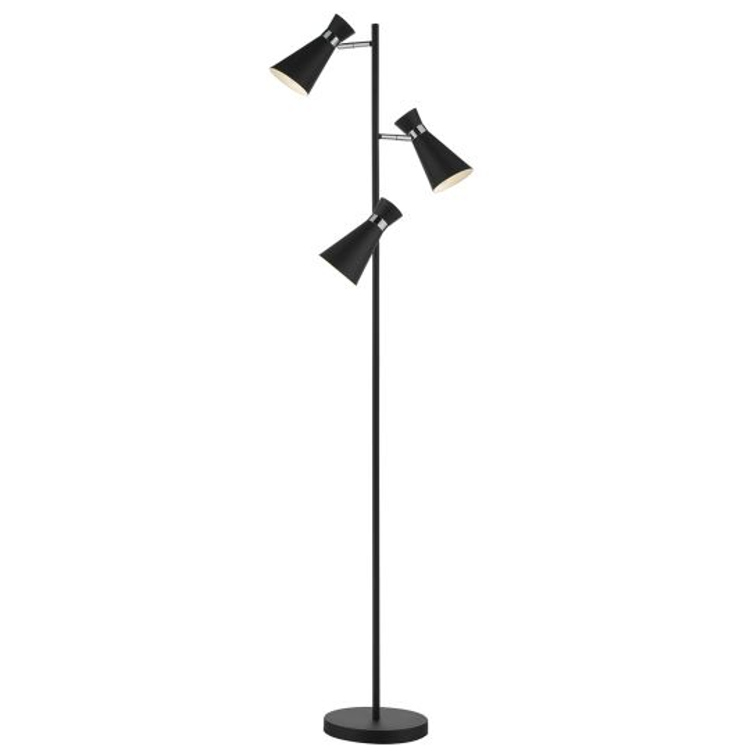 Dar Lighting Ashworth 3 Light Floor Lamp Matt Black & Polished Chrome ASH4922