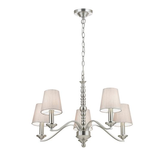 Endon Lighting Astaire Satin Nickel Plate & Natural Fabric 5 Light Pendant Light ASTAIRE-5SN