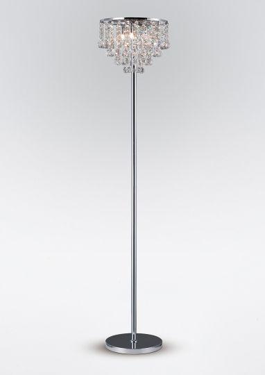 Diyas IL30029 Atla Floor Lamp 4 Light Polished Chrome/Crystal