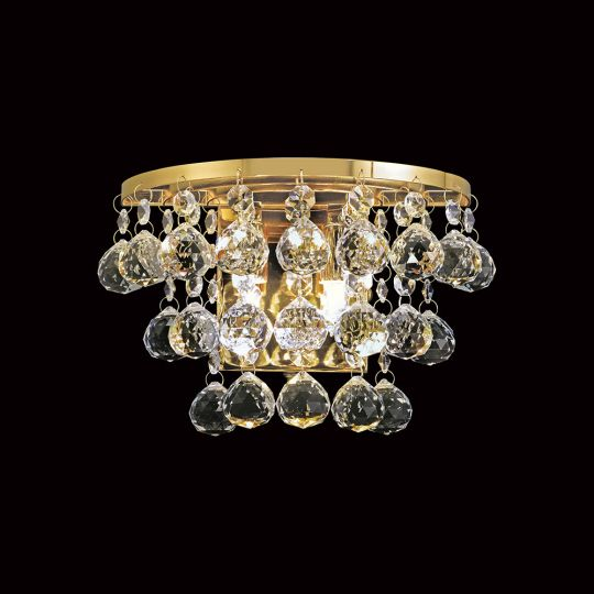 Diyas IL30214 Atla Wall Lamp Switched 2 Light French Gold/Crystal