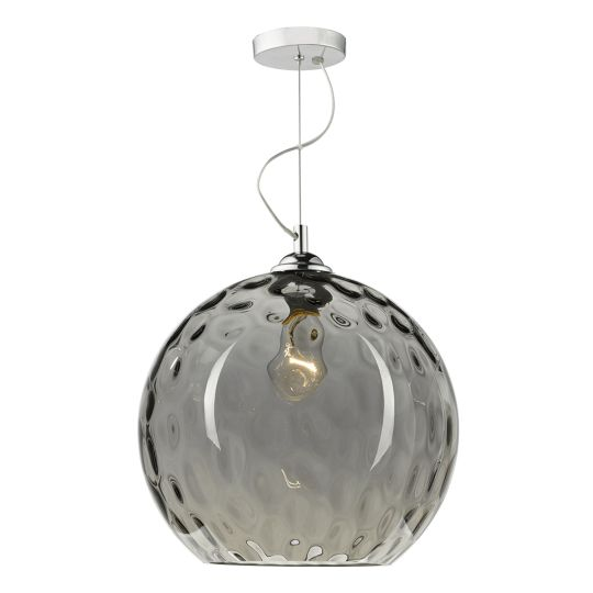 Dar Lighting Aulax 1 Light Pendant Silver Smoked Glass With Dimple Effect AUL0110