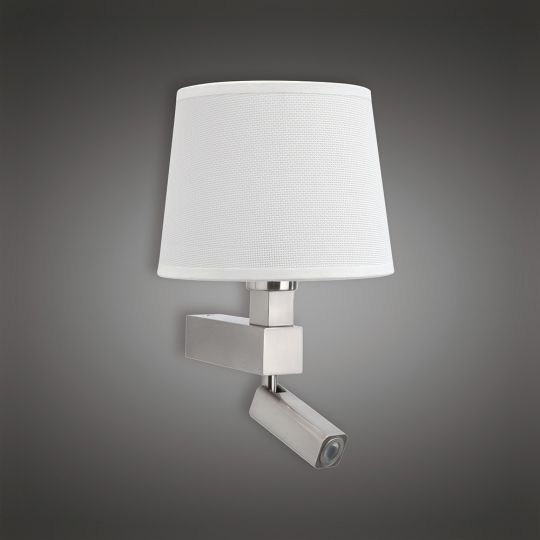 Mantra M5234 Bahia Wall Lamp 1 Light Without Shade E27 + Reading Light 3W LED Satin Nickel 4000K 200lm 3yrs Warranty