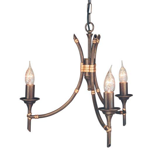 Elstead Lighting Bamboo 3 Light Chandelier BB3-BRZ-PATINA