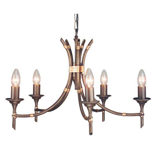 Elstead Lighting Bamboo 5 Light Chandelier BB5-BRZ-PATINA