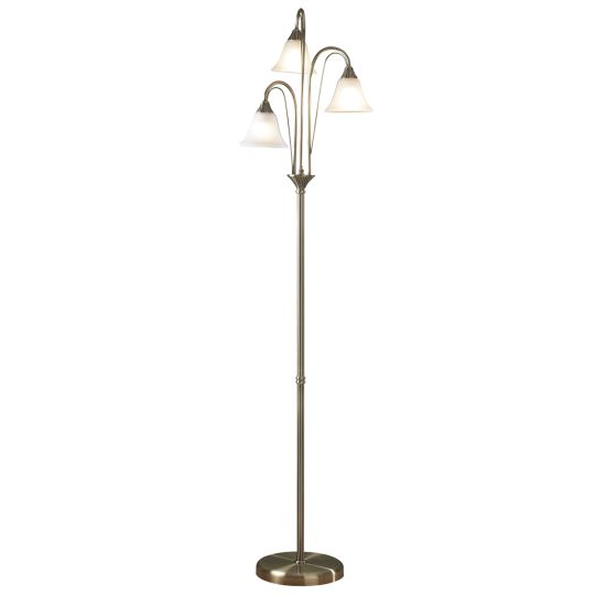 Dar Lighting Boston Floor Lamp Antique complete with Glass BOS49
