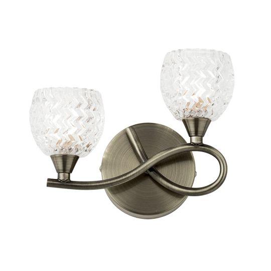 Endon Lighting Boyer Antique Brass Plate & Clear Glass 2 Light Wall Light BOYER-2WBAB-R