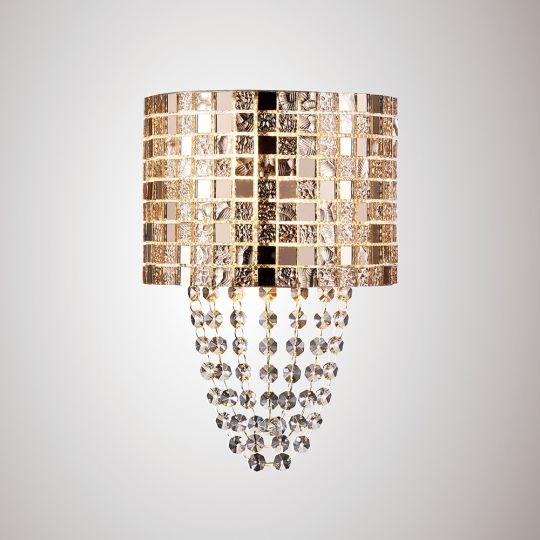 Diyas IL31621 Camden Wall Lamp 2 Light G9 Rose Gold/Mosaic Glass/Crystal