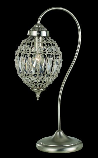 Impex CO01219/TL Bombay  Series Decorative 1 Light Satine Nickel Table Lamp