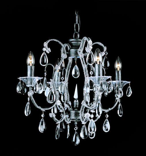 Impex CO03339/04/S Versailles  Series Decorative 4 Light Silver Streak Ceiling Light