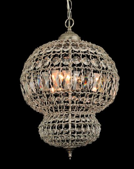 Impex CO812161/03/SN Morocco Series Decorative 3 Light Satine Nickel Ceiling Light