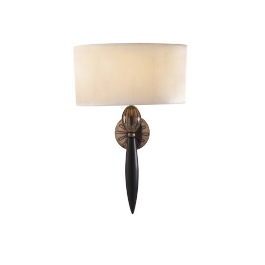 David Hunt Lighting CON0763 Contour Wall Light Black Bronze complete with White Taped Silk S020 Shade