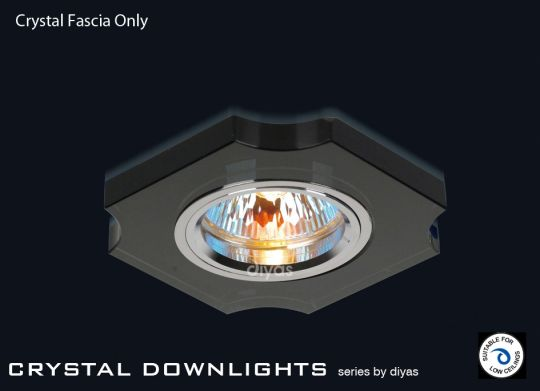 Diyas Lighting IL30809BL - Crystal Downlight  Concave Corner Rim Only Black
