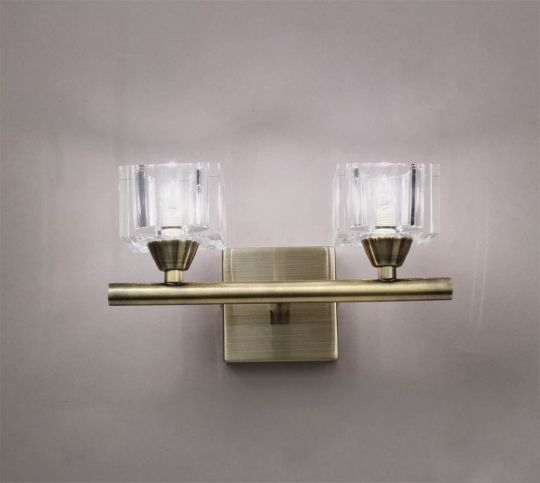 Mantra Lighting - Cuadrax Wall Lamp 2 Light Antique Brass Switched - M2364AB/S