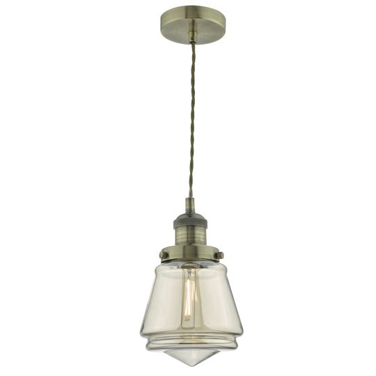 Dar Lighting Curtis 1lt Pendant Antique Brass & Champagne Glass CUR0175