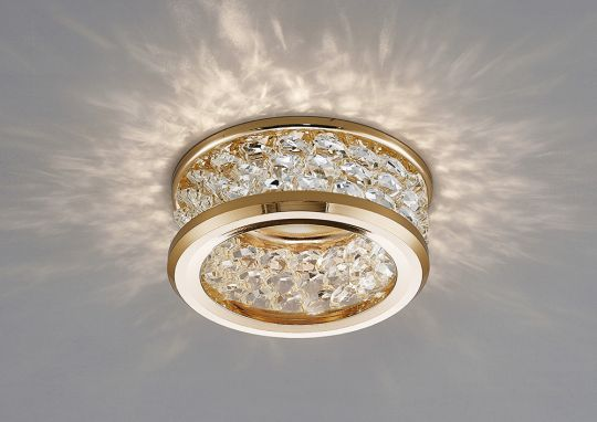 Diyas IL30835FG Dante GU10 Downlight With 3 Levels Of Crystal Beads French Gold/Clear