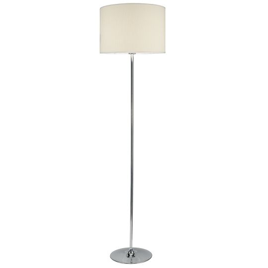 Dar Lighting Delta Floor Lamp Polished Chrome complete with Shade DEL4950