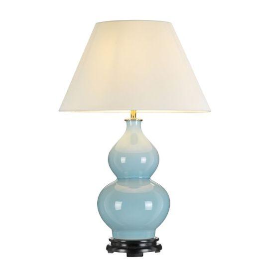 Designer's Lightbox Harbin Gourd 1 Light Table Lamp With Tall Empire - Duck Egg Blue DL-HARBIN-TL-DEB